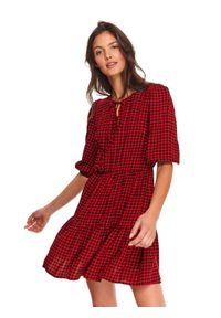 Czerwona sukienka TOP SECRET mini, koszulowa