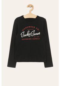 Czarna koszulka z długim rękawem Jack & Jones na co dzień, z nadrukiem, casualowa