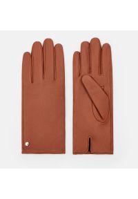 Mohito - Skórzane rękawiczki - Bordowy. Kolor: czerwony. Materiał: skóra