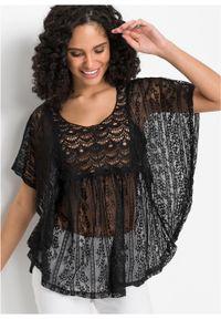 Tunika shirtowa z koronki bonprix czarny. Kolor: czarny. Materiał: koronka. Wzór: koronka