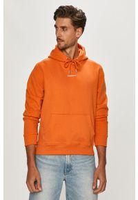 Pomarańczowa bluza nierozpinana Calvin Klein Jeans z kapturem, gładkie, casualowa