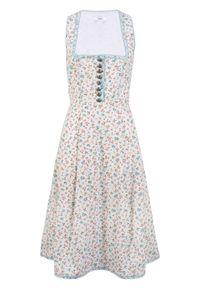Sukienka w ludowym stylu bonprix biały w kwiaty. Kolor: biały. Wzór: kwiaty