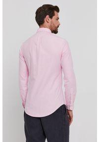 Polo Ralph Lauren - Koszula bawełniana. Typ kołnierza: polo. Kolor: różowy. Materiał: bawełna