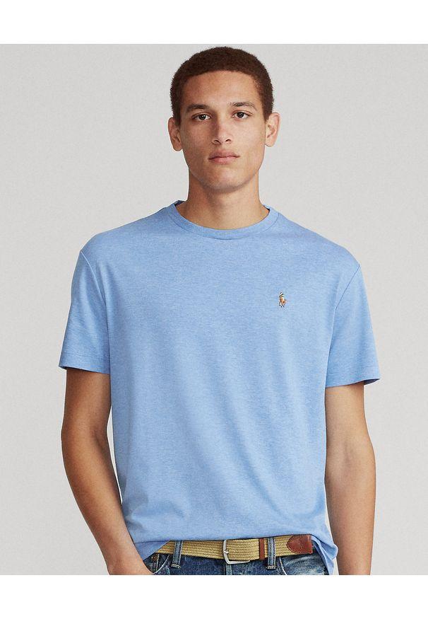 Ralph Lauren - RALPH LAUREN - Niebieski t-shirt Custom Fit Soft Cotton. Typ kołnierza: polo. Kolor: niebieski. Materiał: bawełna. Wzór: haft, kolorowy