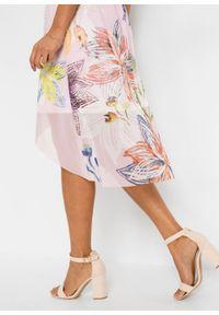 Sukienka siatkowa z nadrukiem bonprix Sukienka siat z nadr bl.r. Kolor: różowy. Wzór: nadruk