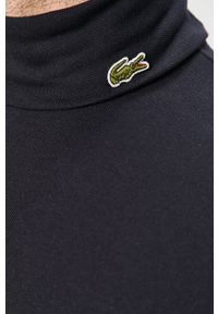 Niebieska koszulka z długim rękawem Lacoste casualowa, z golfem