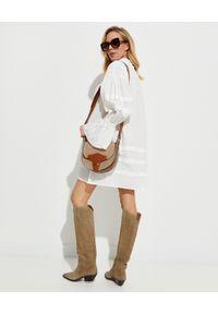 Biała sukienka mini ONETEASPOON w koronkowe wzory, z długim rękawem