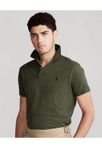 Ralph Lauren - RALPH LAUREN - Zielona koszulka polo SLim Fit Mesh. Typ kołnierza: polo. Kolor: zielony. Materiał: mesh. Długość: długie. Wzór: ze splotem, haft