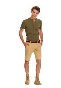 Beżowe szorty TOP SECRET krótkie, w kolorowe wzory