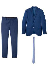 Garnitur 3-częściowy: marynarka + spodnie + krawat, Slim Fit bonprix niebieski. Kolor: niebieski. Materiał: elastan, materiał