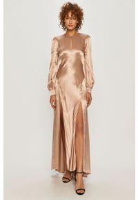 Beżowa sukienka TwinSet rozkloszowana, maxi, z długim rękawem