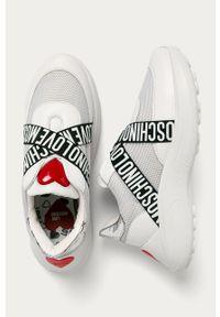 Białe buty sportowe Love Moschino na średnim obcasie, z cholewką, na sznurówki