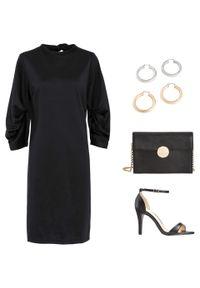 Czarna sukienka bonprix elegancka, ze stójką