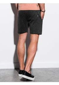 Ombre Clothing - Krótkie spodenki męskie dresowe W223 - czarne - XXL. Kolor: czarny. Materiał: dresówka. Długość: krótkie. Wzór: aplikacja. Styl: klasyczny