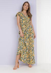 Born2be - Żółta Sukienka Metinise. Kolor: żółty. Materiał: tkanina, materiał. Długość rękawa: krótki rękaw. Wzór: kwiaty, aplikacja. Długość: maxi