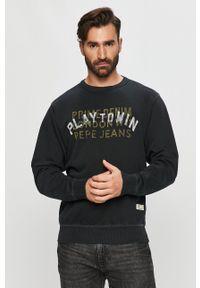 Pepe Jeans - Bluza bawełniana Rufus. Okazja: na co dzień. Kolor: czarny. Materiał: bawełna. Wzór: nadruk. Styl: casual
