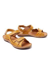 Łukbut - ŁUKBUT 637 żółty, sandały damskie. Zapięcie: rzepy. Kolor: żółty. Materiał: skóra