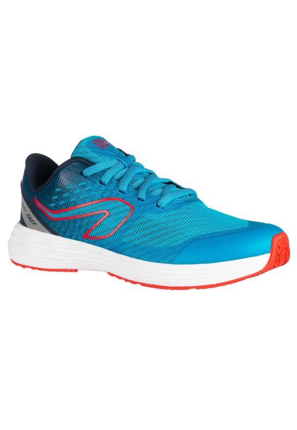 KALENJI - Buty lekkoatletyczne dla dzieci AT 500 Kiprun Fast. Kolor: niebieski, wielokolorowy, turkusowy. Materiał: kauczuk. Sport: bieganie