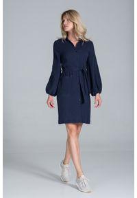 Figl - Koszulowa Sukienka Bawełniana z Długim Bufiastym Rękawem - Granatowa. Kolor: niebieski. Materiał: bawełna. Typ sukienki: koszulowe