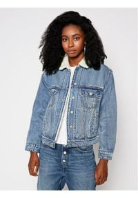 Superdry Kurtka jeansowa Boyfriend Sherpa W5010249A Niebieski Regular Fit. Kolor: niebieski. Materiał: jeans