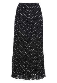 Spódnica z szyfonu bonprix czarno-biały w kropki. Kolor: czarny. Materiał: szyfon. Wzór: kropki. Styl: elegancki