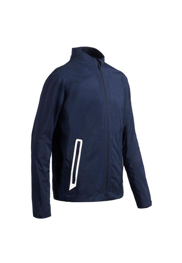INESIS - Kurtka przeciwdeszczowa do golfa RW500 dla dzieci. Typ kołnierza: golf. Kolor: niebieski. Materiał: materiał, poliester. Sport: golf