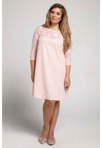 Różowa sukienka wizytowa Nommo plus size, wizytowa