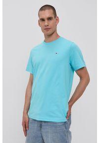 Tommy Jeans - T-shirt. Kolor: niebieski. Materiał: bawełna, dzianina. Wzór: gładki