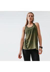 KALENJI - Koszulka do biegania bez rękawów damska Kalenji Run Light. Kolor: zielony, brązowy, wielokolorowy. Materiał: elastan, poliester, materiał. Długość rękawa: bez rękawów. Sport: bieganie