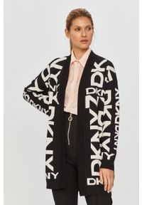 Czarny sweter rozpinany DKNY casualowy, długi, z długim rękawem