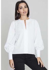 Figl - Biała Bluzka Koszulowa z Rozcięciem przy Dekolcie. Kolor: biały. Materiał: poliester, bawełna