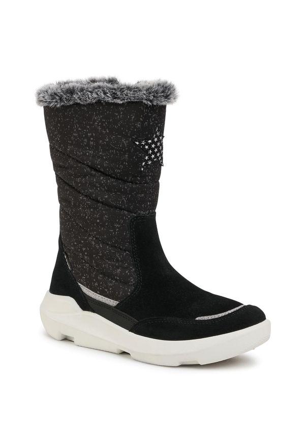 Czarne śniegowce Superfit na spacer, z cholewką