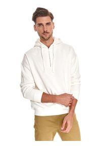TOP SECRET - Bluza męska kangurka z suwakiem. Kolor: biały. Materiał: dzianina. Długość rękawa: długi rękaw. Długość: długie. Sezon: lato