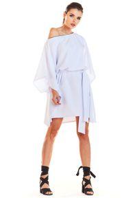e-margeritka - Sukienka kimonowa z paskiem biała - uni. Okazja: na imprezę. Kolor: biały. Materiał: poliester, materiał, elastan. Typ sukienki: oversize. Styl: elegancki