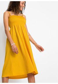 Żółta sukienka bonprix midi, na ramiączkach