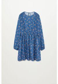 Niebieska sukienka Mango Kids mini, z długim rękawem, rozkloszowana, w kwiaty