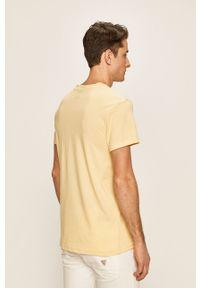 Żółty t-shirt DC z okrągłym kołnierzem, na co dzień, casualowy, z nadrukiem