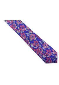 Modini - Niebieski krawat męski w różowe kwiaty C1. Kolor: niebieski, różowy, wielokolorowy. Materiał: tkanina, mikrofibra. Wzór: kwiaty