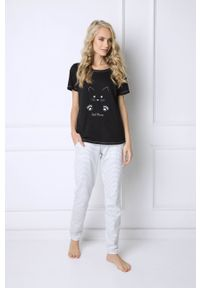 Aruelle - Piżama Catwoman Long. Kolor: czarny. Materiał: dzianina. Wzór: nadruk