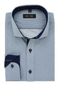Elegancka koszula Desire w kropki, długa, z kontrastowym kołnierzykiem