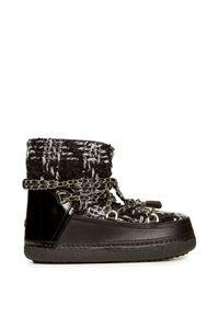 Czarne buty zimowe Inuikii na sznurówki, w kratkę