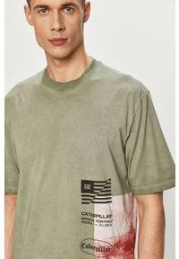 CATerpillar - Caterpillar - T-shirt. Okazja: na co dzień. Kolor: turkusowy. Wzór: nadruk. Styl: casual