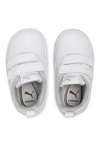 Sneakersy PUMA - Courtflex V2 V Inf 371544 04 Puma White/Gray Violet. Okazja: na uczelnię, na spacer, na co dzień. Zapięcie: rzepy. Kolor: biały. Materiał: skóra, skóra ekologiczna, materiał. Szerokość cholewki: normalna. Styl: casual