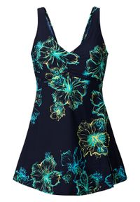 Sukienka kąpielowa shape Level 3 bonprix ciemnoniebiesko-turkusowo-żółty z nadrukiem. Kolor: niebieski. Wzór: nadruk