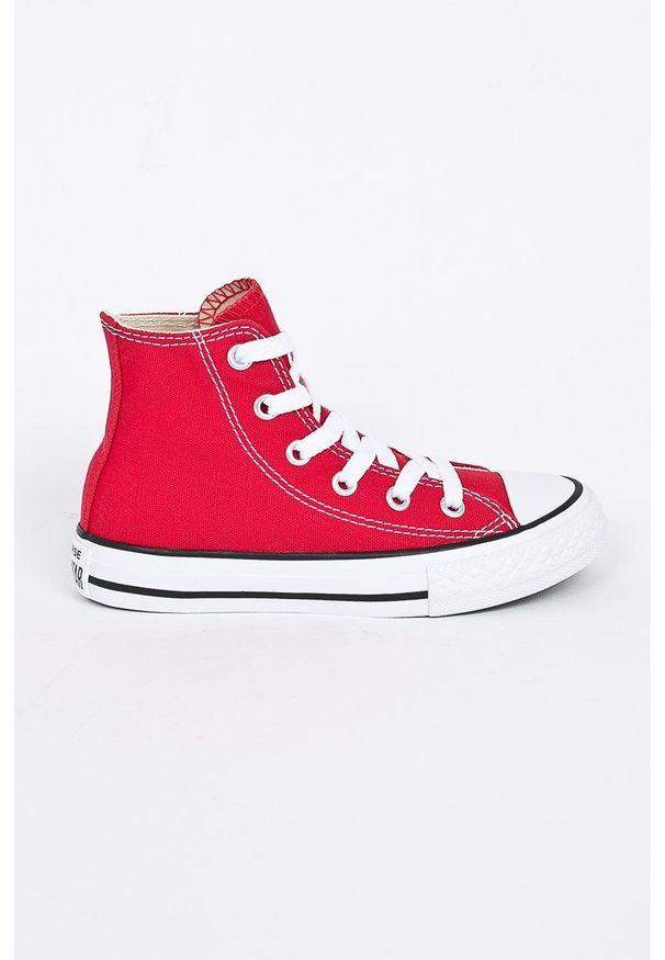 Czerwone trampki Converse z okrągłym noskiem, z cholewką, na sznurówki