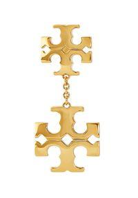Tory Burch - TORY BURCH - Wiszące kolczyki Kira. Materiał: złote, z mosiądzu. Kolor: złoty