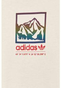 Kremowy t-shirt adidas Originals z okrągłym kołnierzem, casualowy