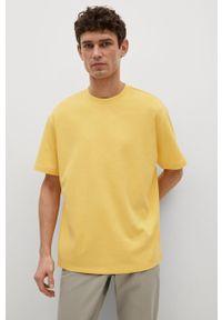 Żółty t-shirt Mango Man gładki