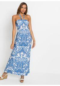 Sukienka z dekoltem halter bonprix niebiesko-biały paisley. Typ kołnierza: dekolt halter. Kolor: niebieski. Wzór: paisley. Długość: maxi