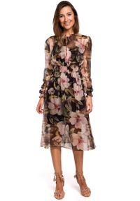 MOE - Czarna Szyfonowa Sukienka w Kwiaty z Długim Rękawem. Kolor: czarny. Materiał: szyfon. Długość rękawa: długi rękaw. Wzór: kwiaty